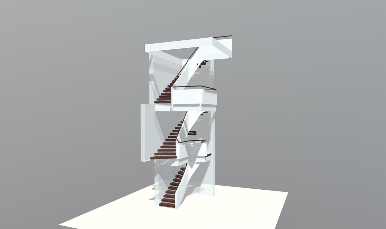 3D-Treppen Visualisierung einer Designtreppe